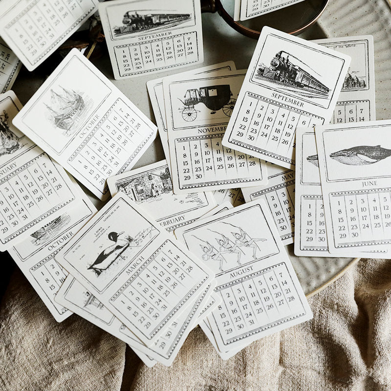 Calendar Cards, Decoration for Vintage Journal, Junk Journal, Ephemera, Undated Calendar, Planner, Scrapbooking, Typewriter