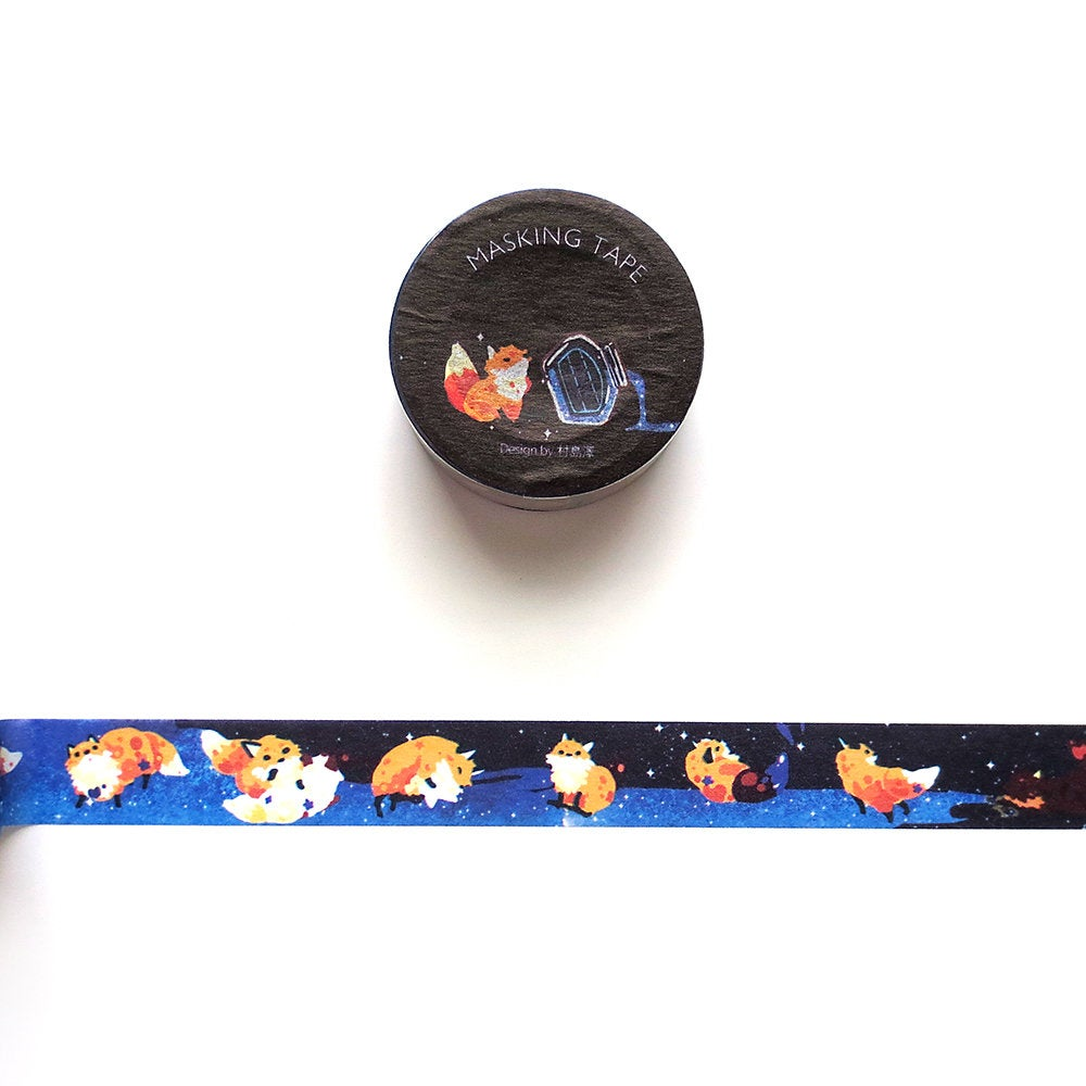 Galactic Fox Washi Tape, Space, Galaxy Ink Washi Roll, Deco Tape, Masking Tape for Planner, Hobonichi