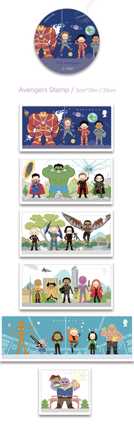 Avengers Stamps Washi Tape, Marvel, Guardians of the Galaxy, Iron Man, Captain America, Loki, Thor Fan Illustrated Comic Superhero Washi Roll, Groot Deco Tape, Masking Tape, Movie