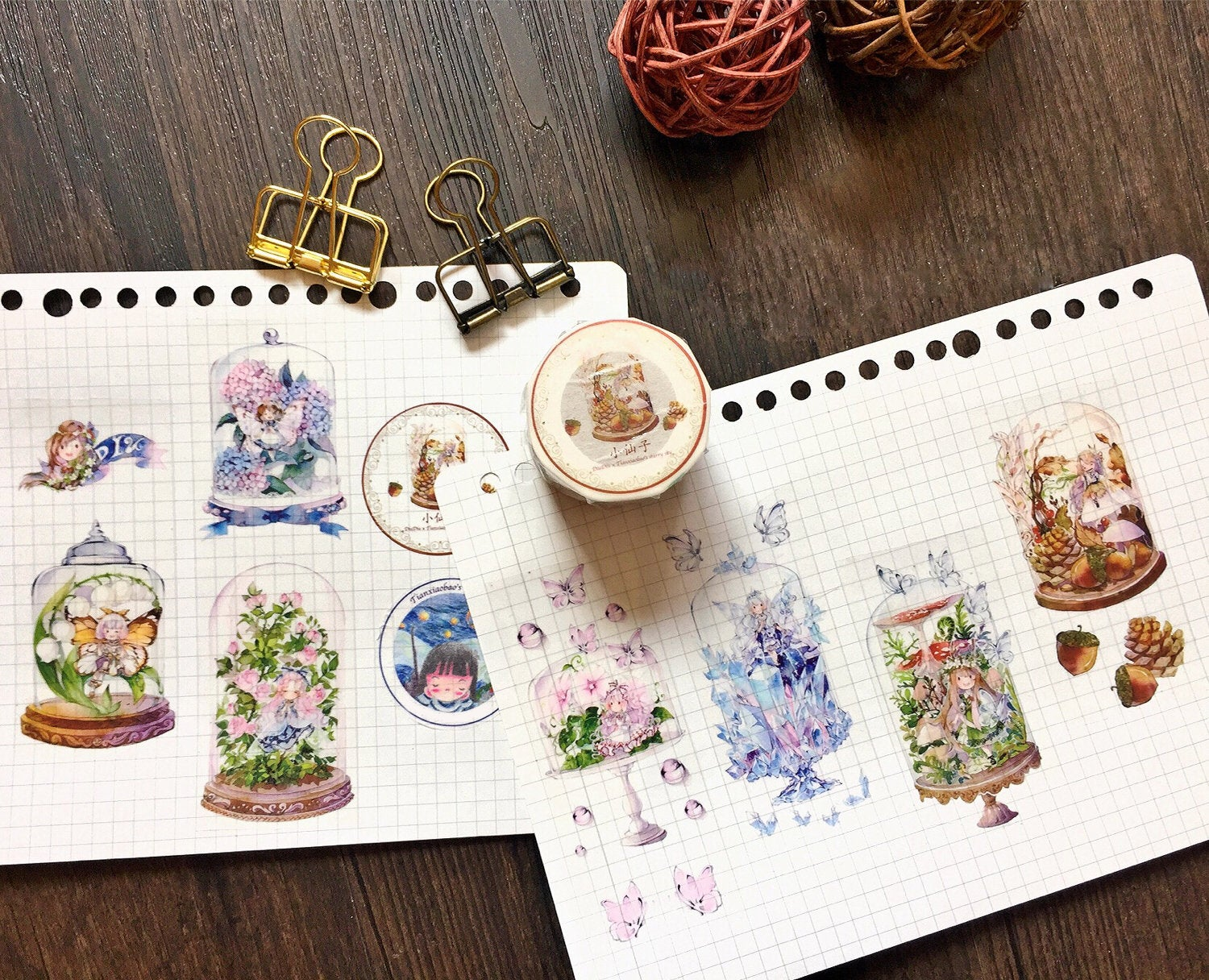 Fairy Bottles Washi Tape, Fairy, Crystal, Girls Illustration Washi Tape Roll, Floral, Nature, Plants Masking Tape, Deco Tape