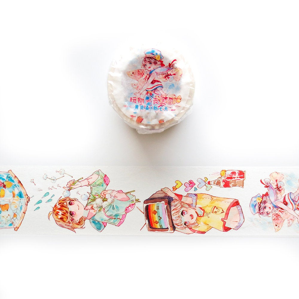 Girl Washi Tape, Let's Play 2, Original Girls Illustration Washi Tape Roll, Cat Washi Tape, Masking Tape, Deco Tape, Stickers