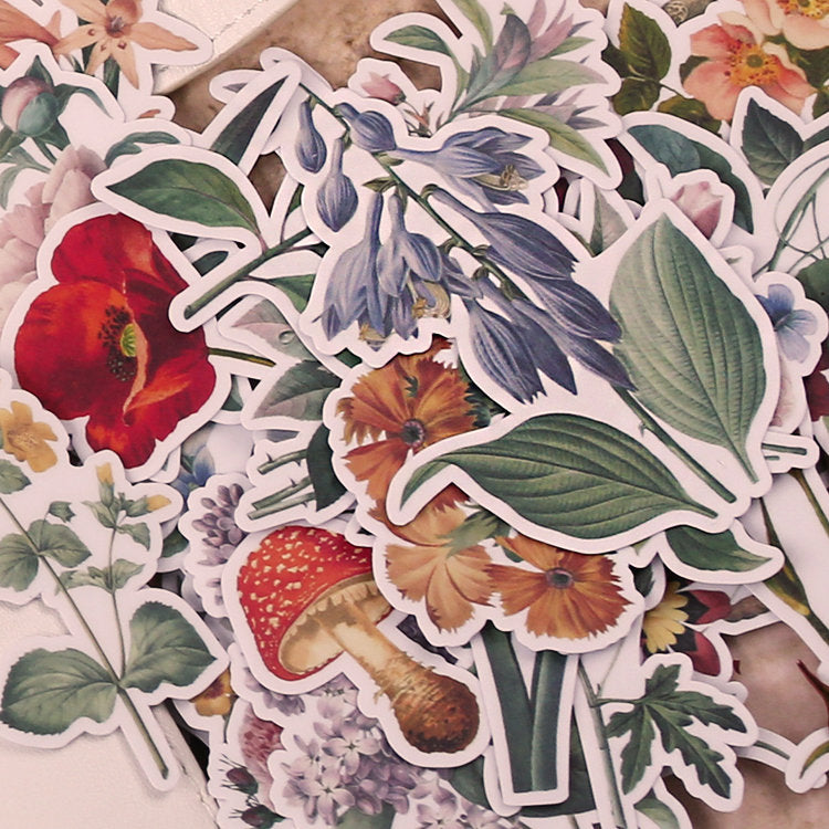 52 PCS Vintage Flowers Stickers Pack, Vinyl Flowers Sticker Sack, Planner, Scrapbooking, Plants, Garden, Ephemera