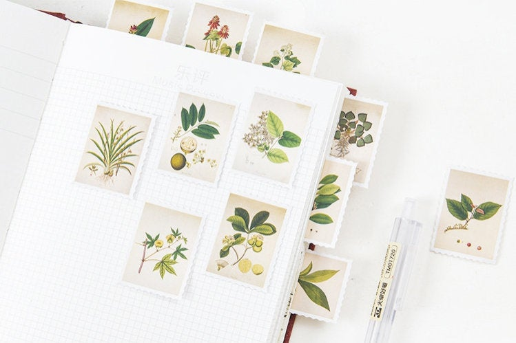 Botanical Stamps Sticker Set, Flower, Plant Sticker, Vintage Botanical Illustration Planner Stickers