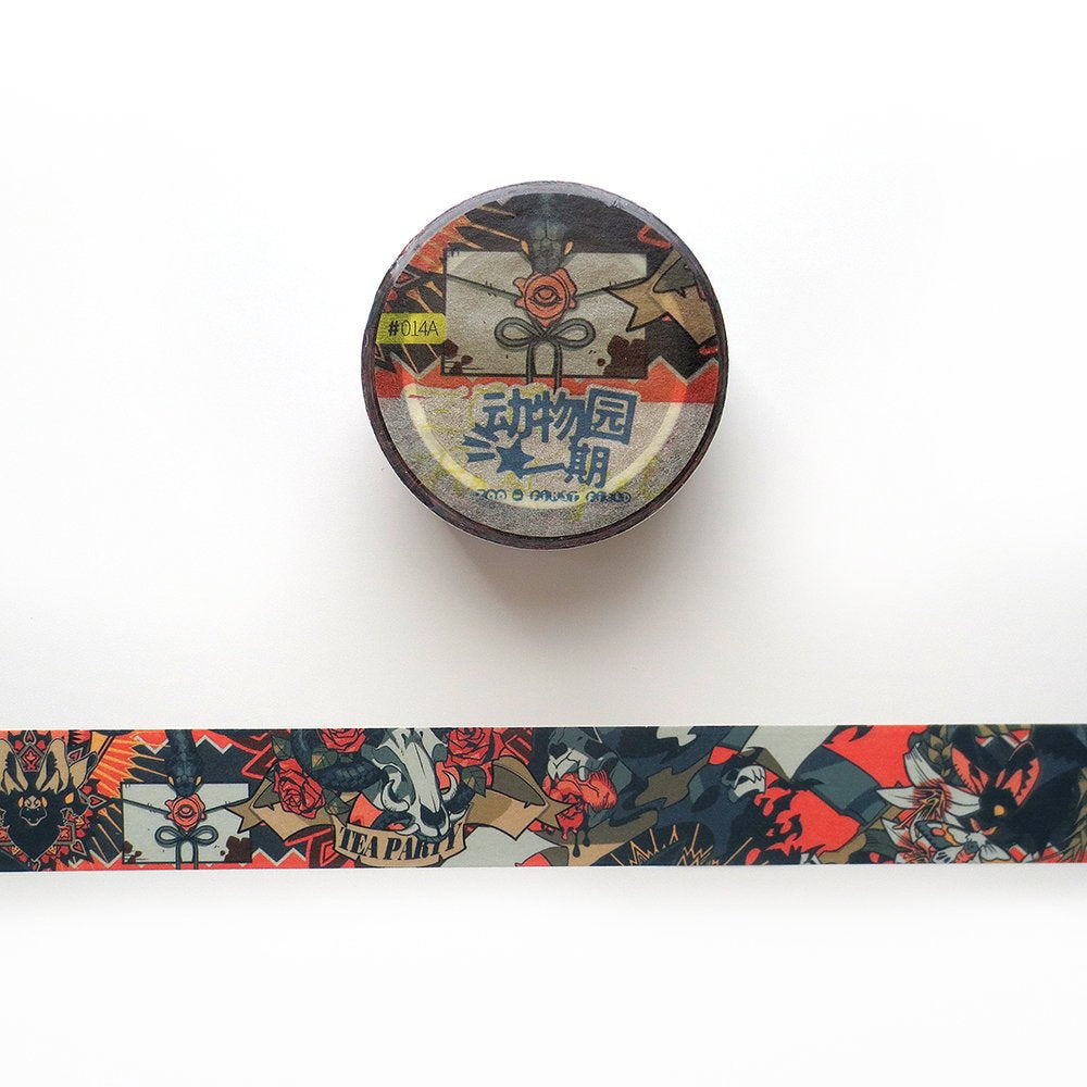 Gothic Tea Party Washi Tape, Snake, Vampire Washi Roll, Bat Deco Tape, Halloween Themed Masking Tape