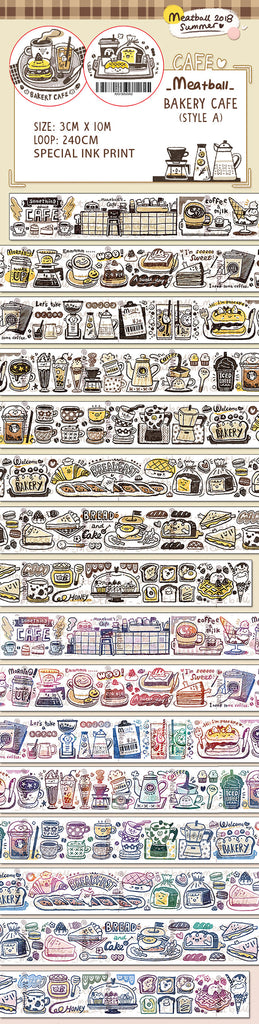 Bakery Cafe Washi Tape, Coffee, Drinks, Meatball Series Washi Tape Roll, Doodle Masking Tape, Deco Tape for Bullet Journal