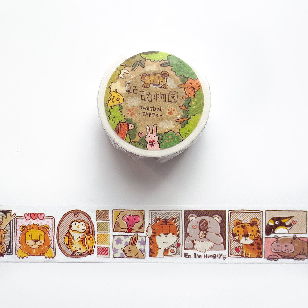 Animal Friends Washi Tape, Meatball, Zoo Washi Roll, Lion, Tiger, Owl, Koala, Penguin, Giraffe, Pig, Fox Masking Tape