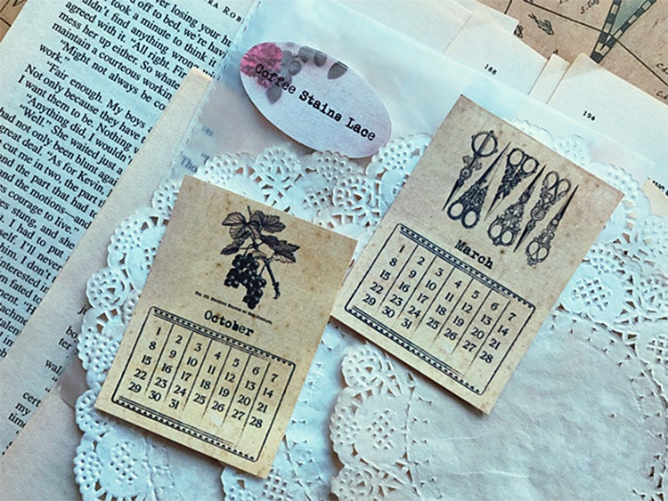 Retro Kraft Calendar Cards, Decoration for Vintage Journal, Junk Journal, Ephemera, Undated Calendar, Planner, Scrapbooking, Typewriter