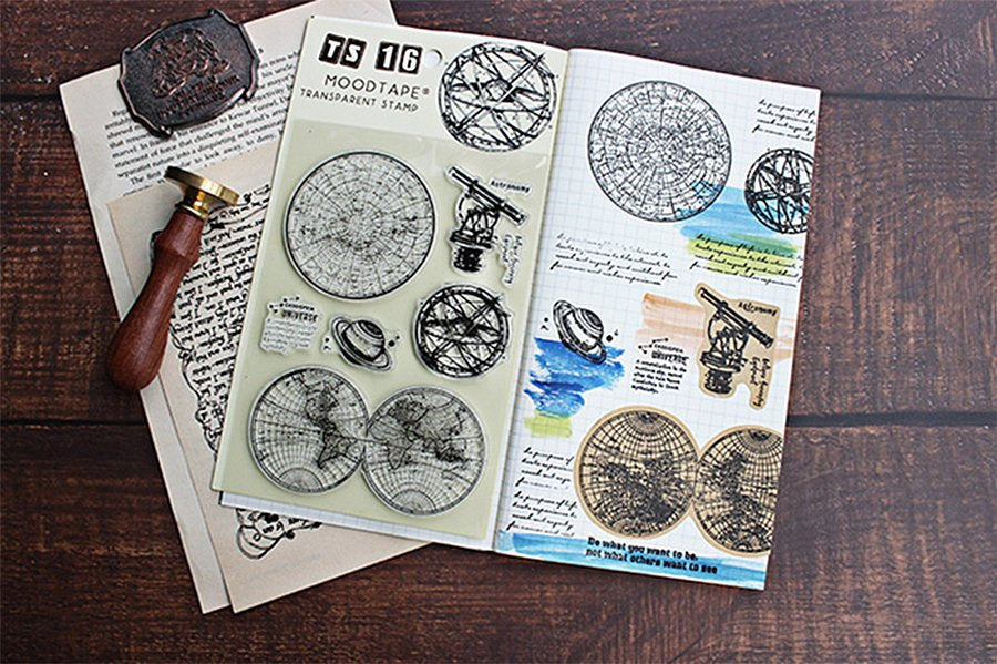 Astronomy Themed Stamp Set, Cosmos, Planets, Planetarium, Earth Atlas Stamps for Journaling, Galaxy Clear Stamps