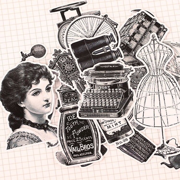 Vintage Objects Illustration Pack, Monochrome, Vinyl Typewriter Sticker Sack, Planner, Scrapbooking, Seamstress Ephemera