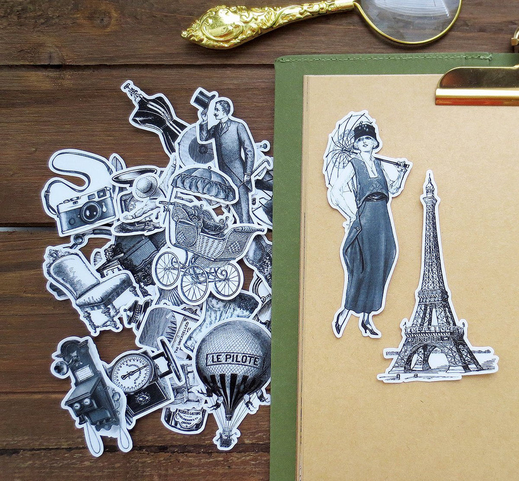 Vintage Objects Illustration Pack Series B, Monochrome, Vinyl Eiffel Tower Sticker Sack, Planner, Scrapbooking, Tea Ephemera