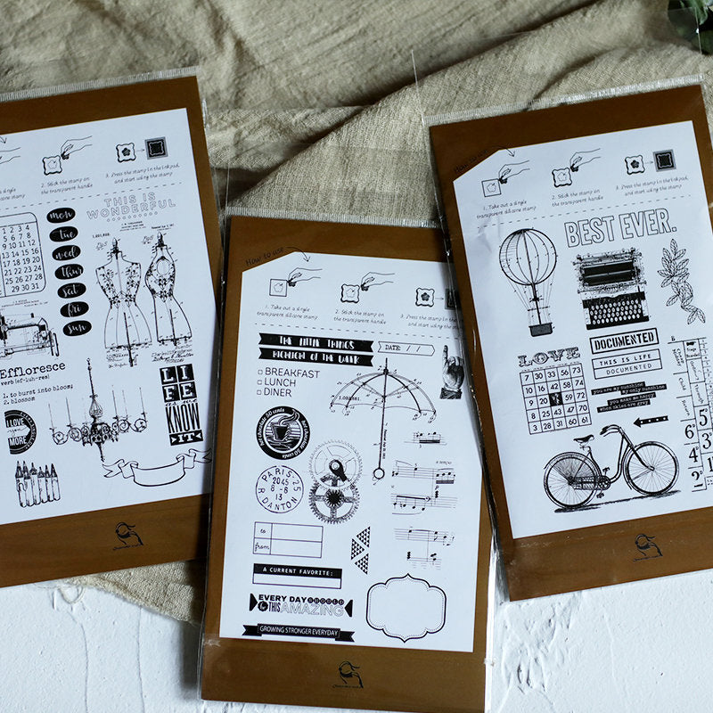 Vintage Journaling Acrylic Stamp Set, Junk Journal Stamps, Clear Acrylic Stamps, Typewriter, Bicycle, Document, Ephemera