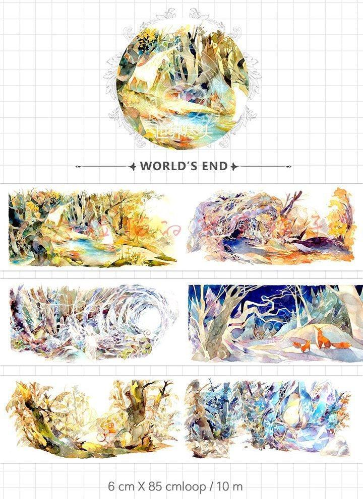 World's End Watercolor Illustration Washi Tape, Tosto Washi Roll, Nature, Mountain, Fox, Forest Washi Tape