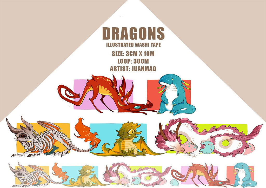 Dragon Themed Washi Tape Roll, Dragon Keeper Masking Tape, Fantasy Deco Tape