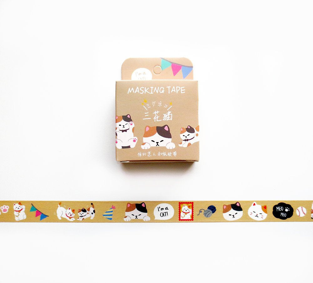 Cat Washi Tape, Maneki Neko Washi Craft Tape Roll, Kitty, Kitten, Animal Themed Masking Tape