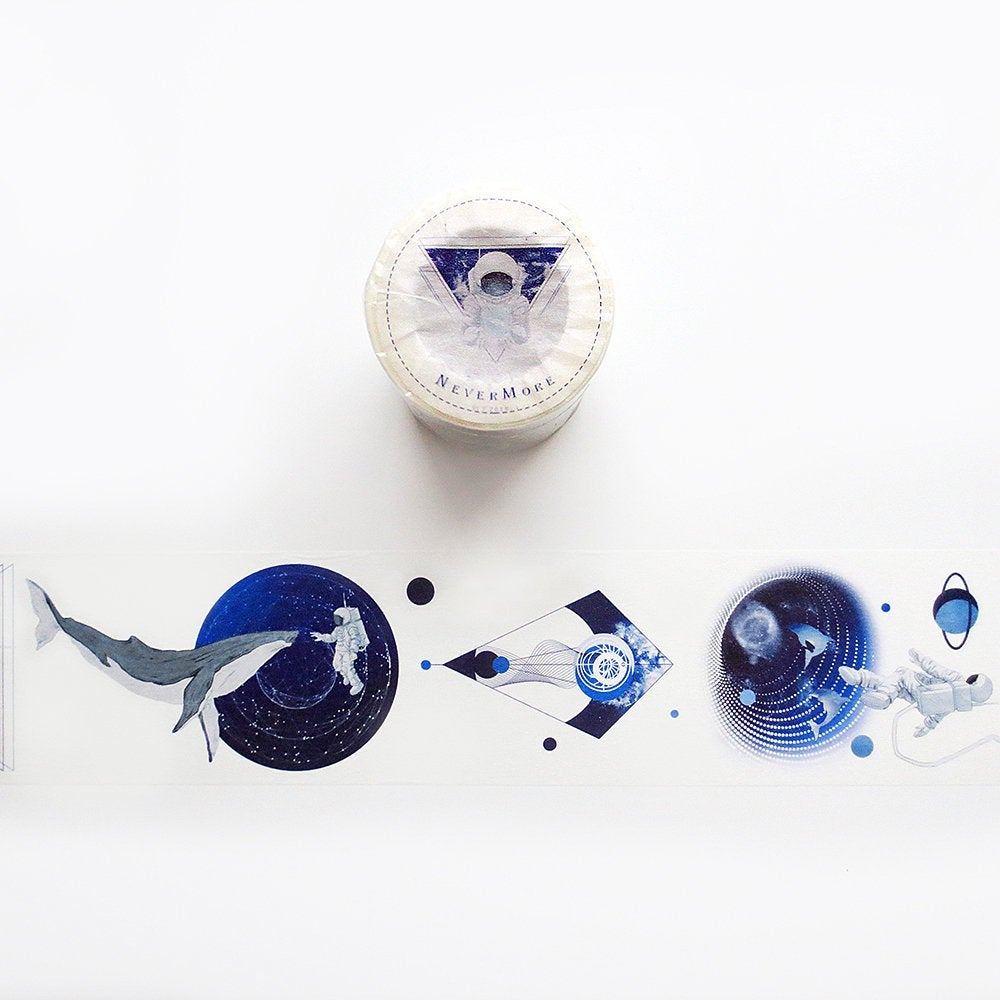 Nevermore Studio Washi Tape, Abyss Washi Roll, Astronaut, Space, Galaxy, Whale Masking Tape, Deco Tape