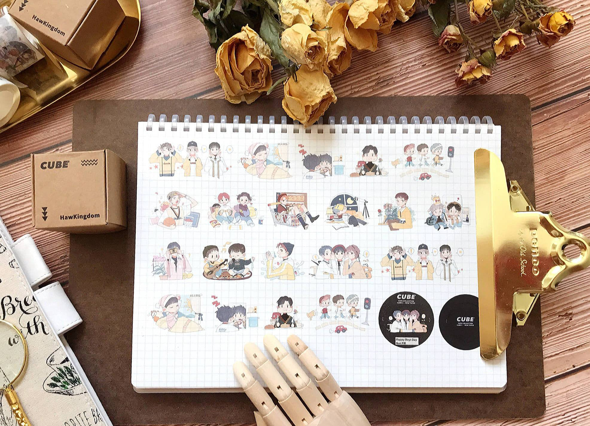 Happy Boys Day Washi Tape, Daily Life Washi Roll, Kpop Original Illustration Deco Tape, Bullet Journal Masking Tape, Traveler's Notebook
