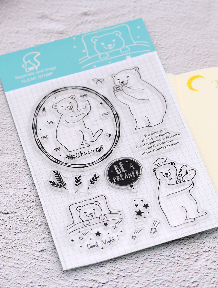 Assorted Acrylic Stamp Sheet, Polar Bear, House, Bird, Vintage Stamps for Journaling, Scrapbook, Bujo, Hobonichi, Clear Stamps