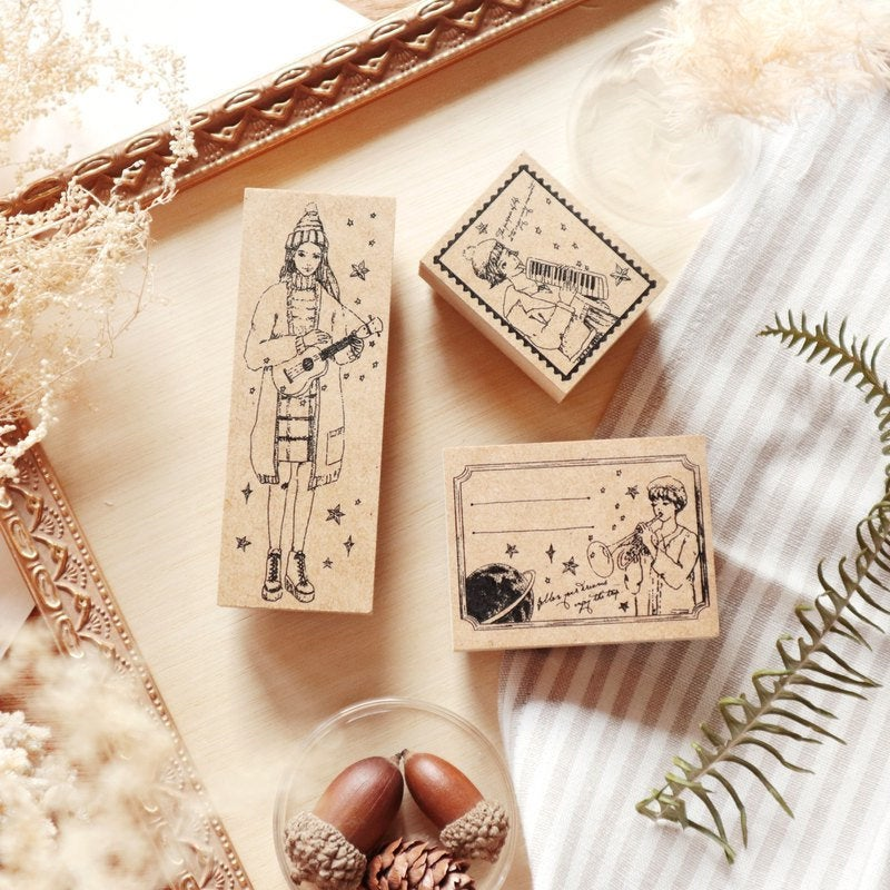 Musician Girls Wooden Stamp Set