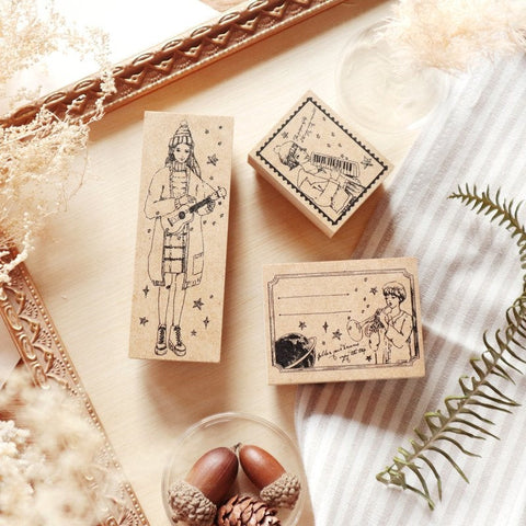 Set of 3 Girls Wooden Stamp Set, Meow Meow Star Musician Girls Rubber Stamps, Stamp for Journaling, Hobonichi, Bullet Journal