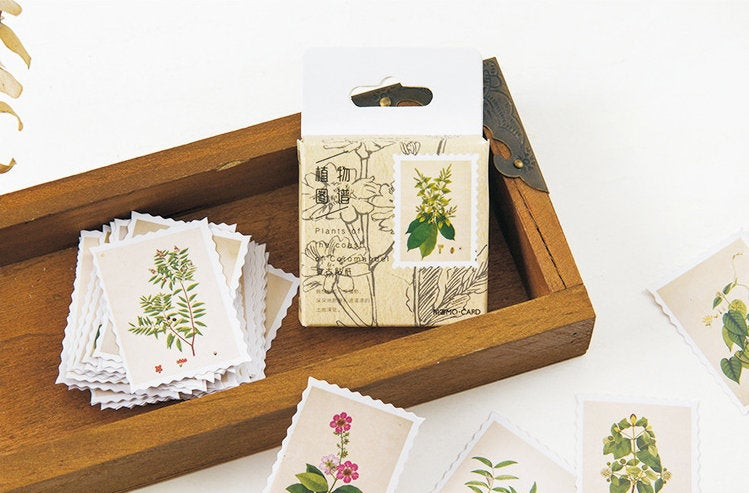 Botanical Stamps Box Sticker Set