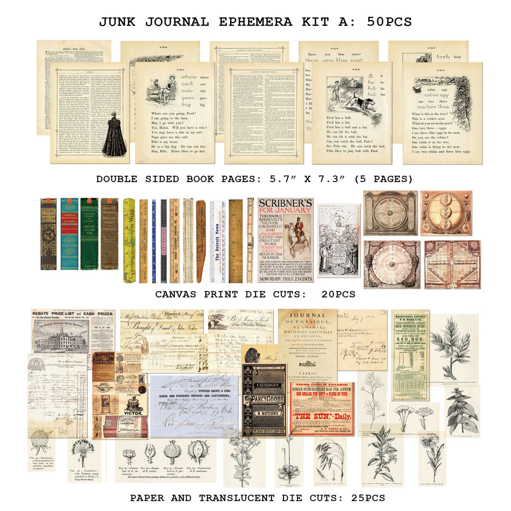 50PCS Junk Journal Ephemera Kit A, Vintage Journaling Paper Pack, Ephemera, Junk Journaling Kit, Planner, Floral, Botanical, Vintage Poster