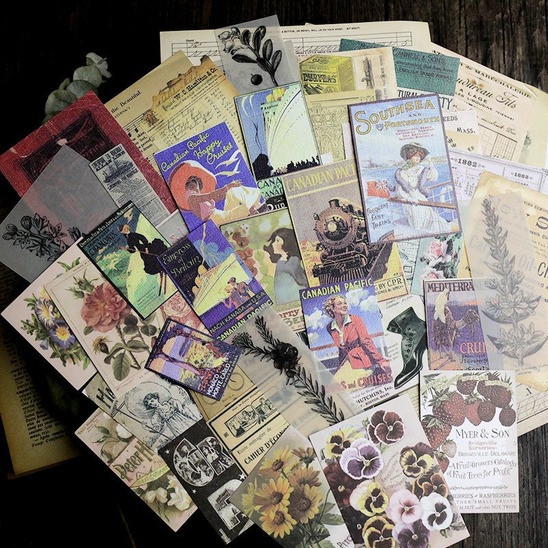 58PCS Junk Journal Ephemera Kit B, Vintage Journaling Paper Pack, Ephemera, Junk Journaling Kit, Planner, Floral, Botanical, Vintage Poster