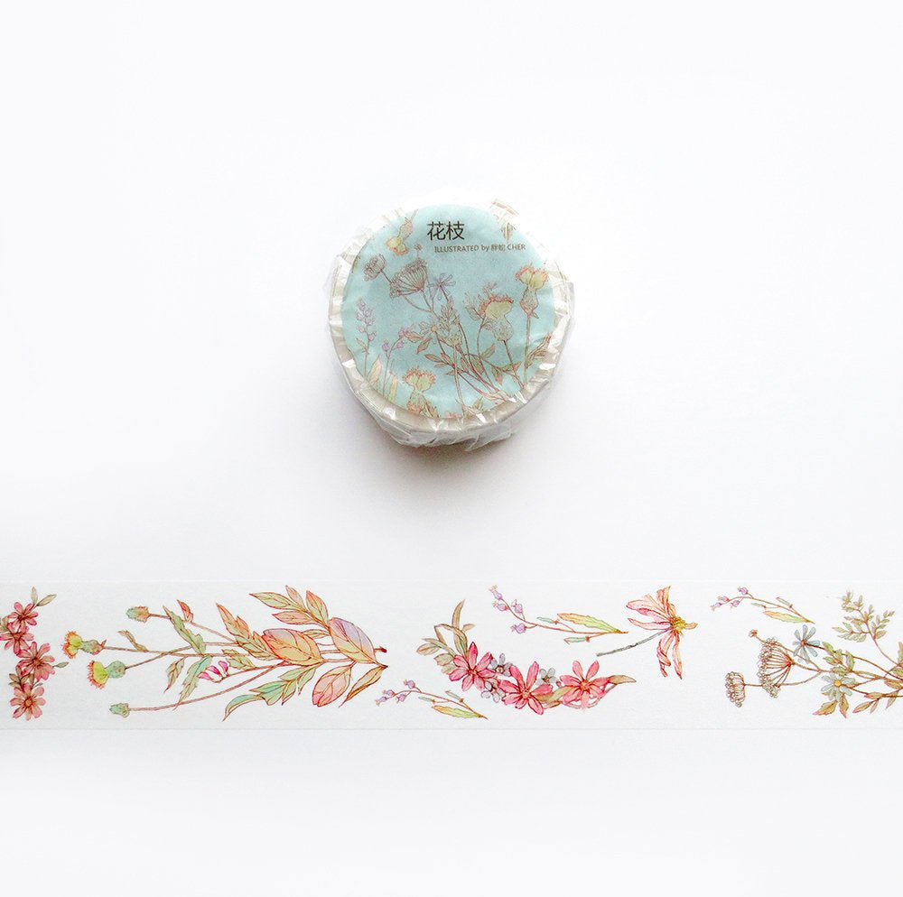 Flower Stems Washi Tape, Flower Themed Washi Roll, Floral Masking Tape, Botanical, Plants Masking Tape