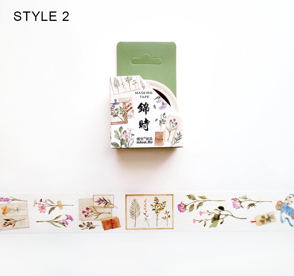 Flower Letters Washi Tape, Dried and Pressed Flowers Washi Tape Roll, Floral Masking Tape, Plants Deco Tape