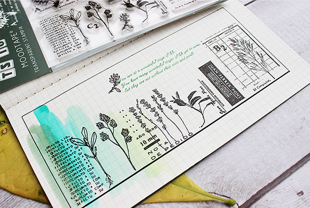 Floral Themed Acrylic Stamp Set, Botanical, Vintage Flower Etching Stamps for Journaling, Plants Clear Stamps