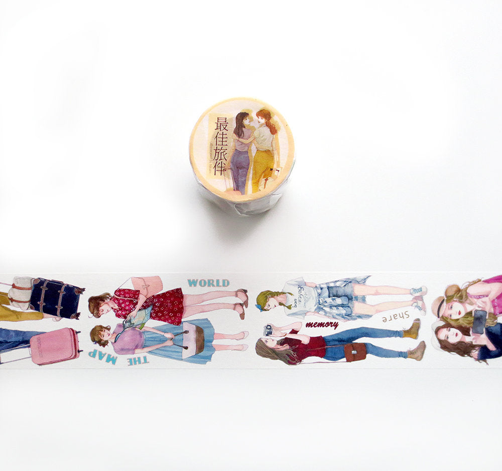 Best Travel Buddy Washi Tape, Kirara Original Girls Illustration Washi Roll, Masking Tape, Traveler's Notebook, Wanderlust