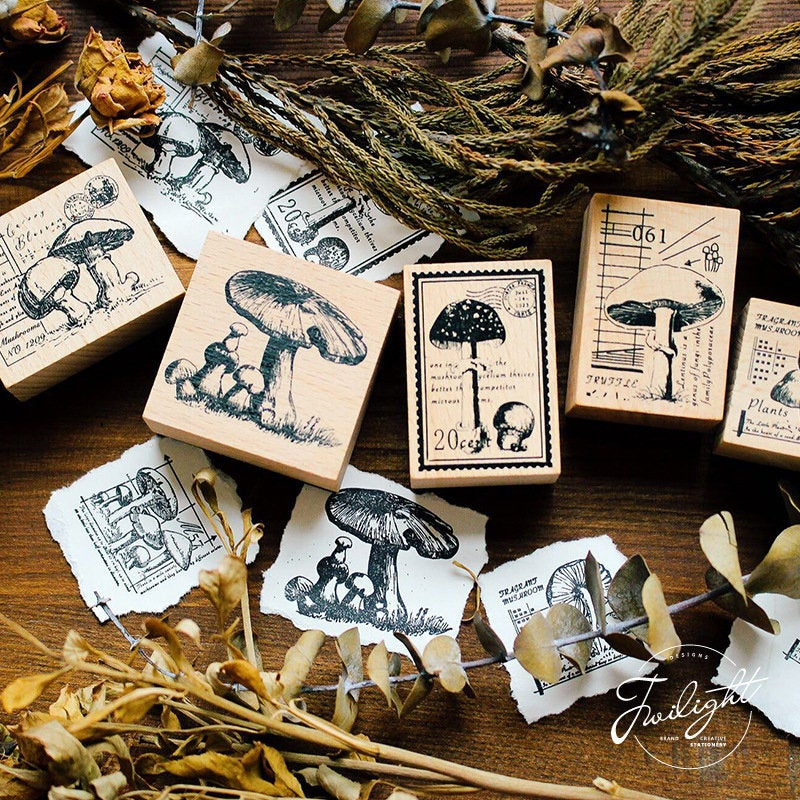 Mushroom Stamps Collection Wooden Stamp Set