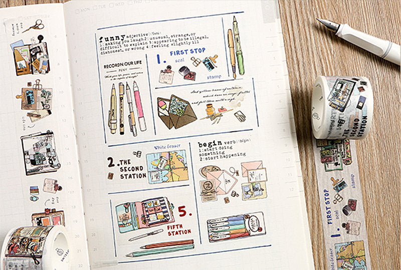 Planner Themed Washi Tape, Bullet Journal, Hobonichi, Traveler's Notebook, Planner Tools Masking Tape, Diary Deco Tape
