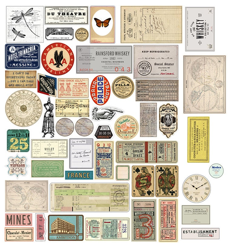 52PCS Vintage Ticket Stubs Stickers Pack