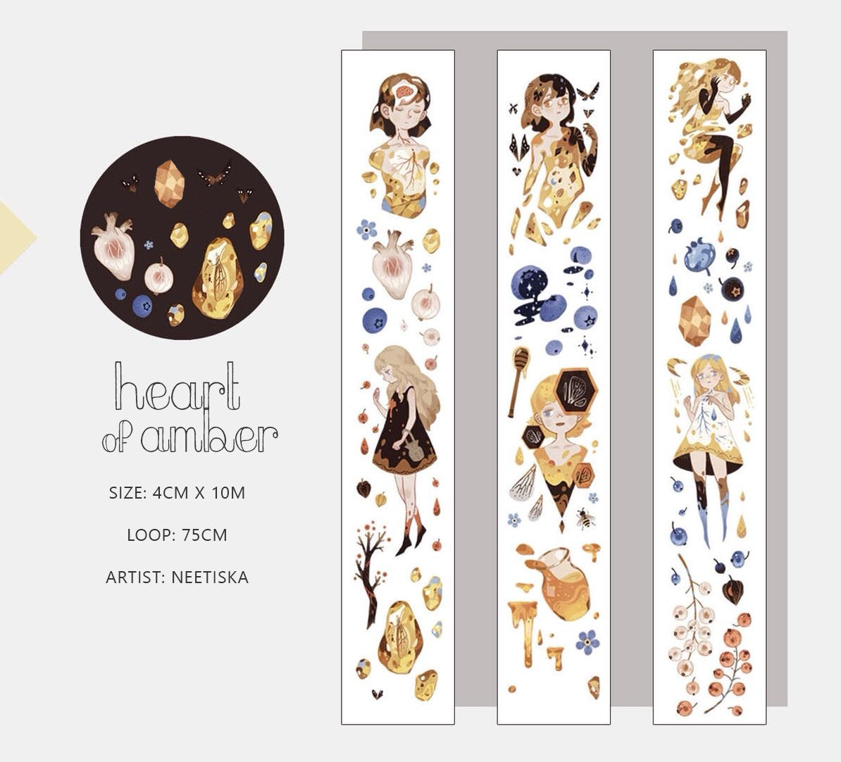 Neetiska Washi Tape: Heart of Amber