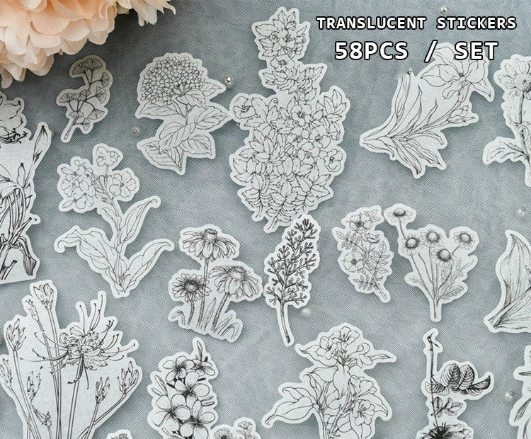 Translucent Flower Etchings Stickers Pack