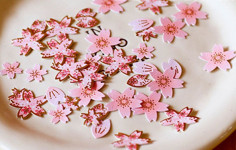 Cherry Blossoms Gold Foil Stickers Pack
