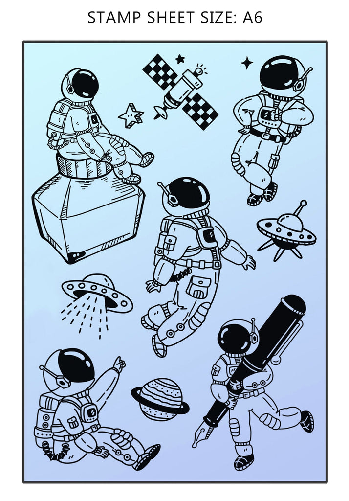 Astronaut and Stationery Acrylic Stamp Set