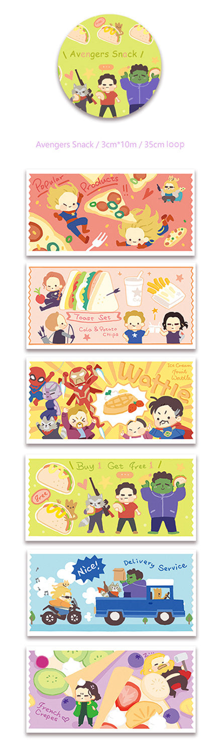 Avengers Snack Washi Tape