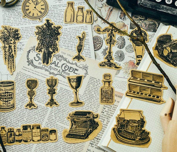 Vintage Objects Kraft Stickers Pack