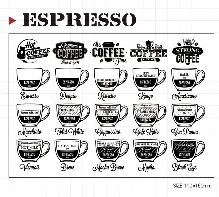 Coffee Drinks Acrylic Stamp Set