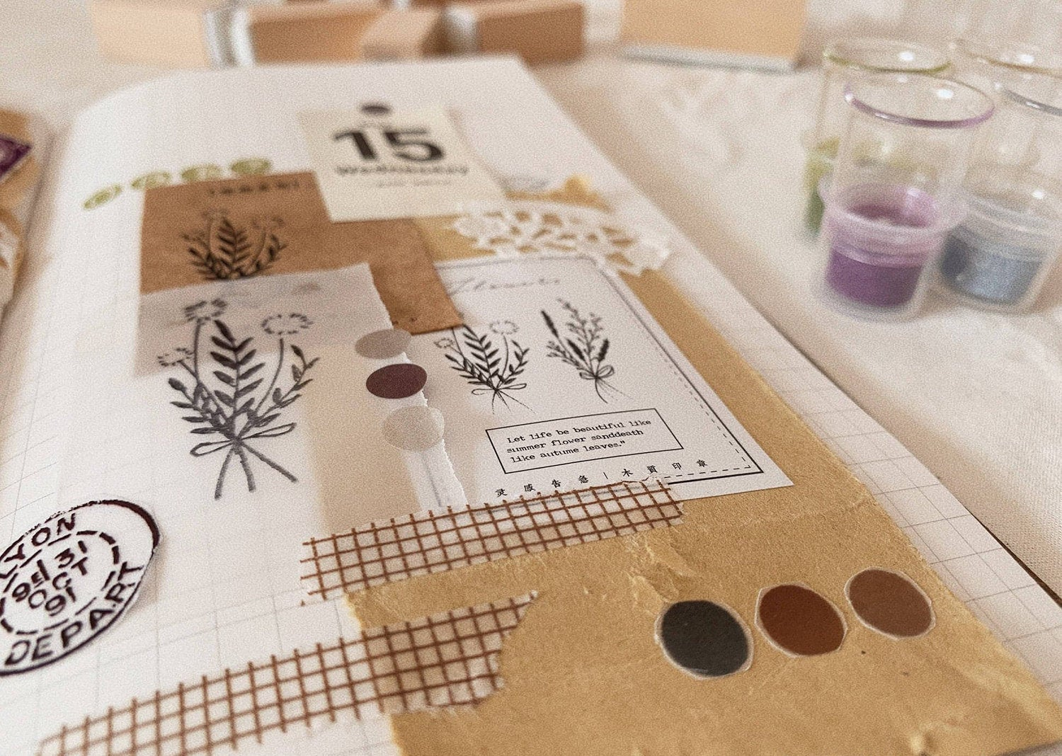 Flower Etchings Wooden Stamp Set