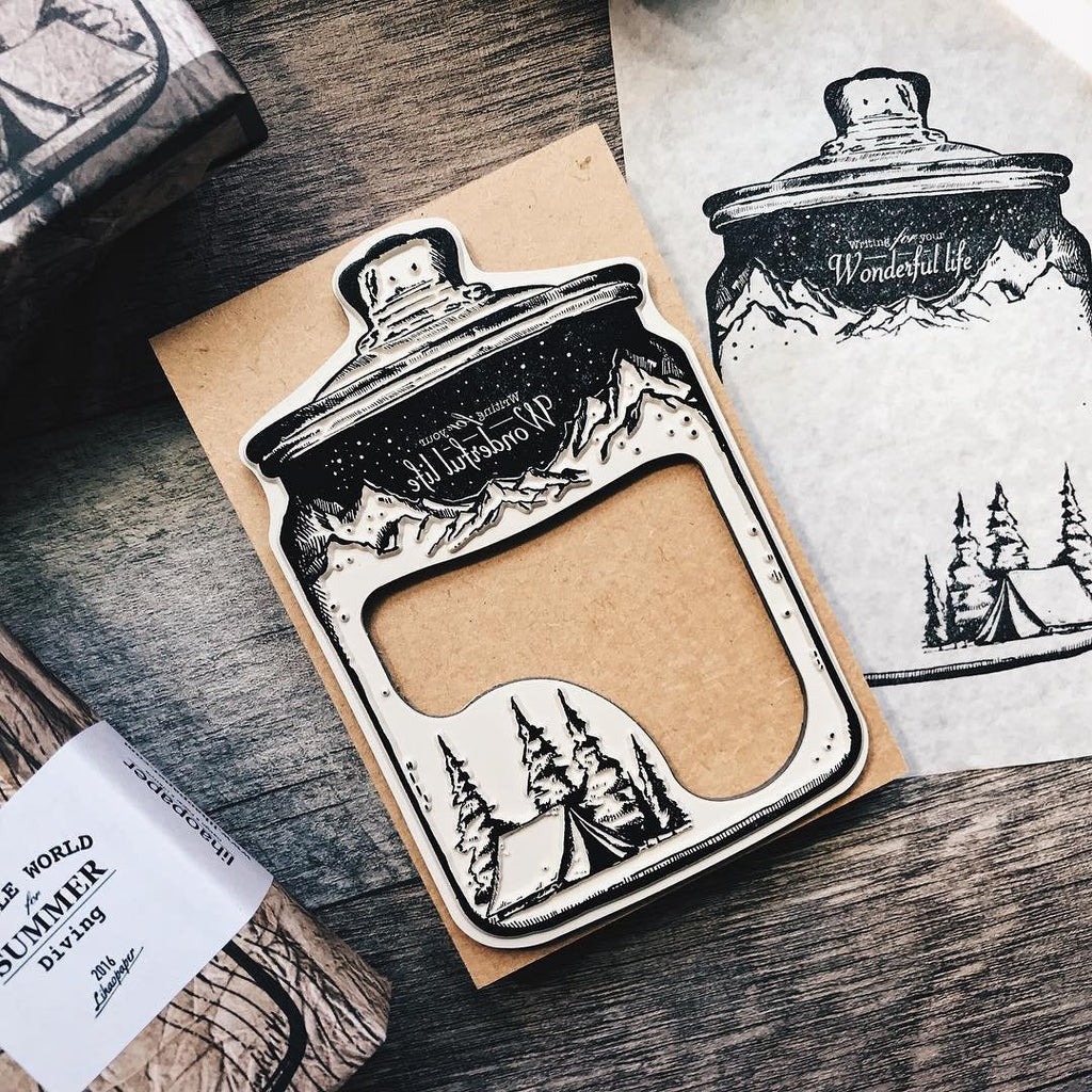 Nature in a Jar Extra Large Wooden Stamp