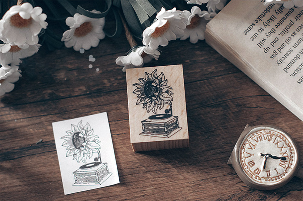 Sunflower Gramophone Wooden Stamp