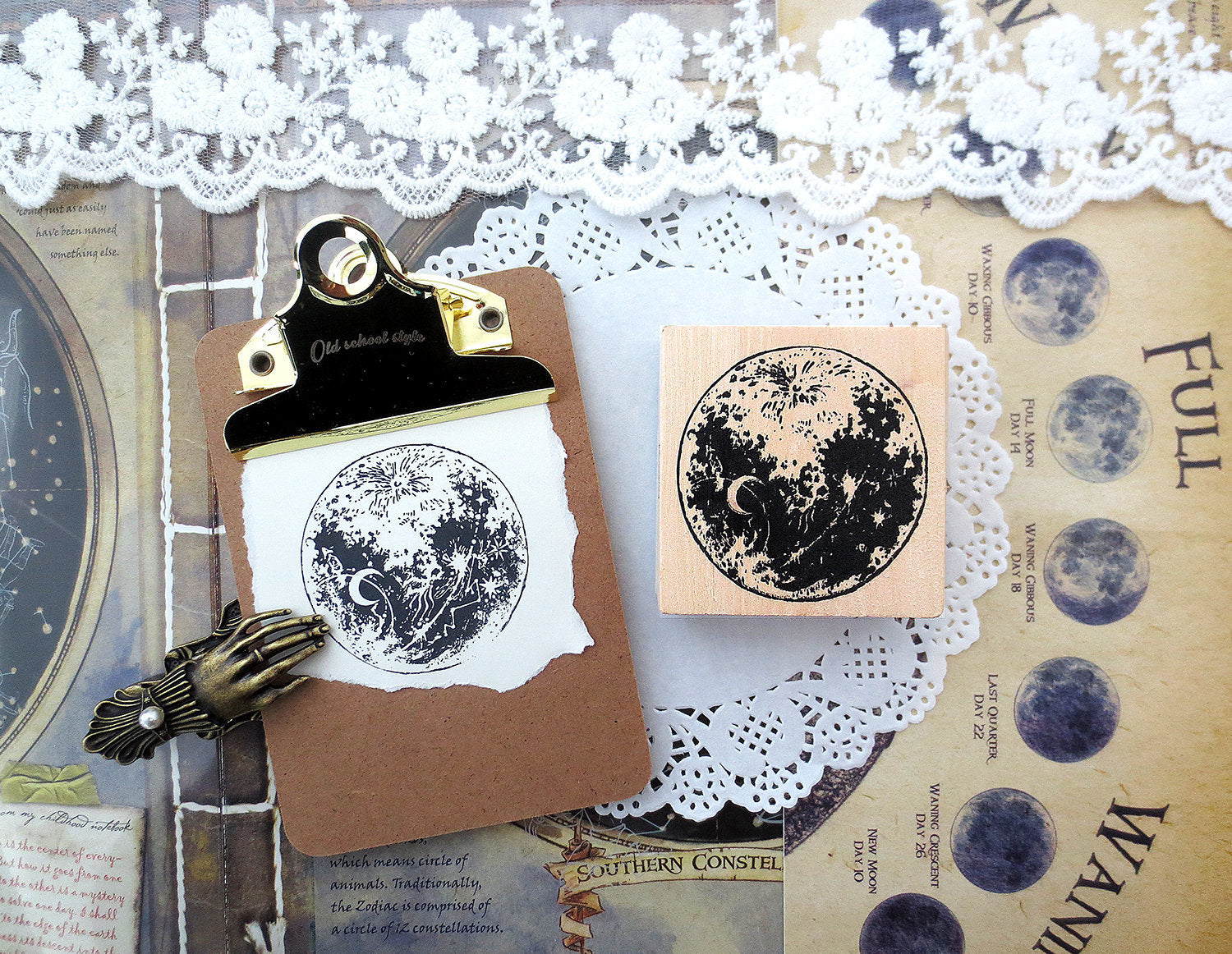 Moon Wooden Stamp B