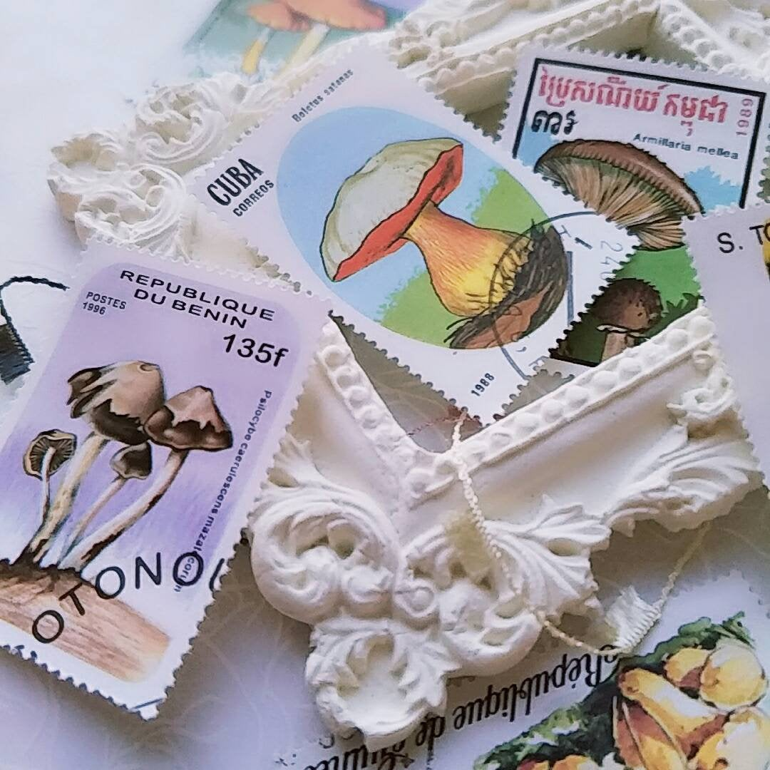 10 Mushroom Themed Mail Stamps
