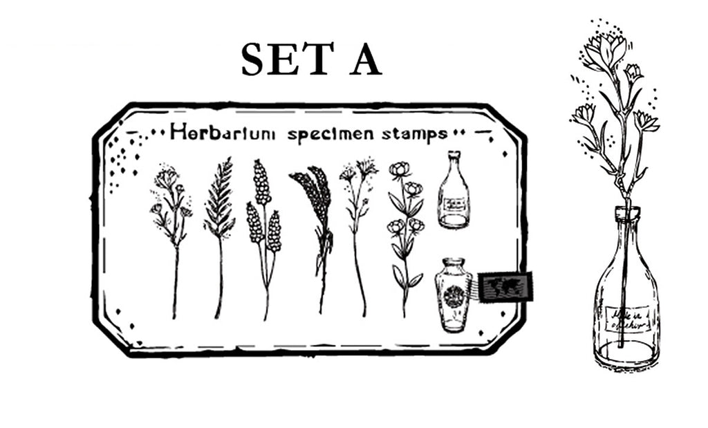 Herbarium Wooden Stamps Set