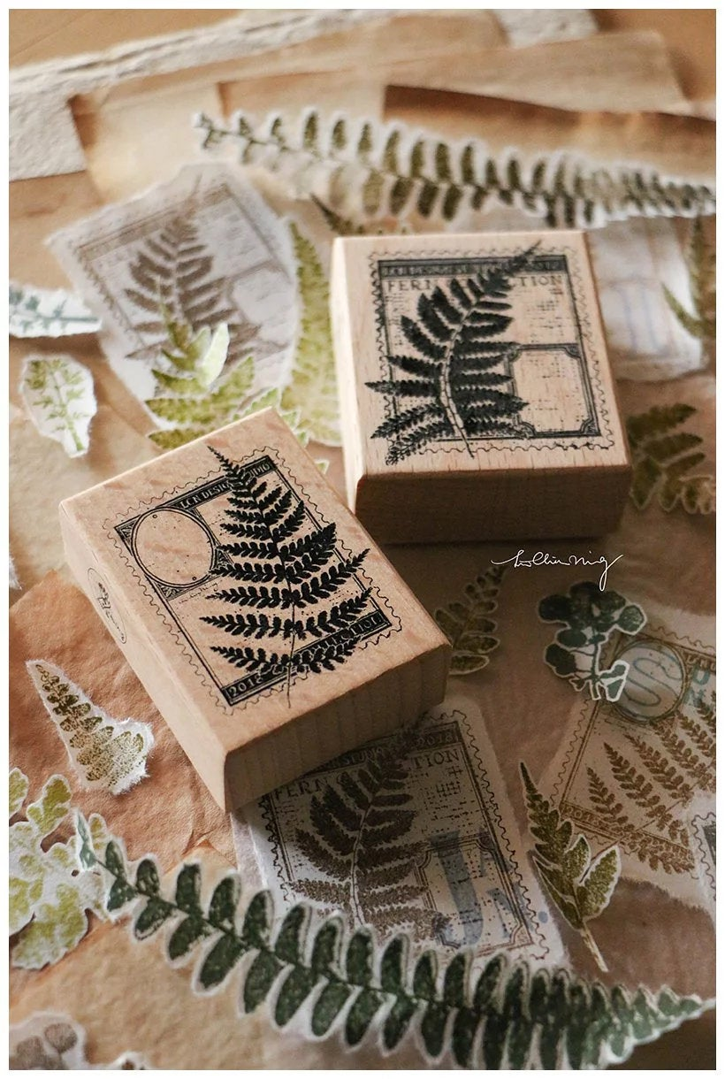 Fern Postage Wooden Stamps Set