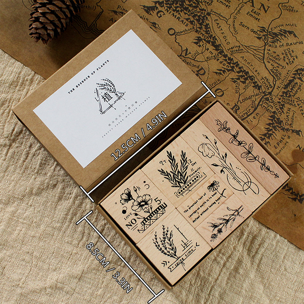 Botanical Motifs Wooden Stamps Set 2