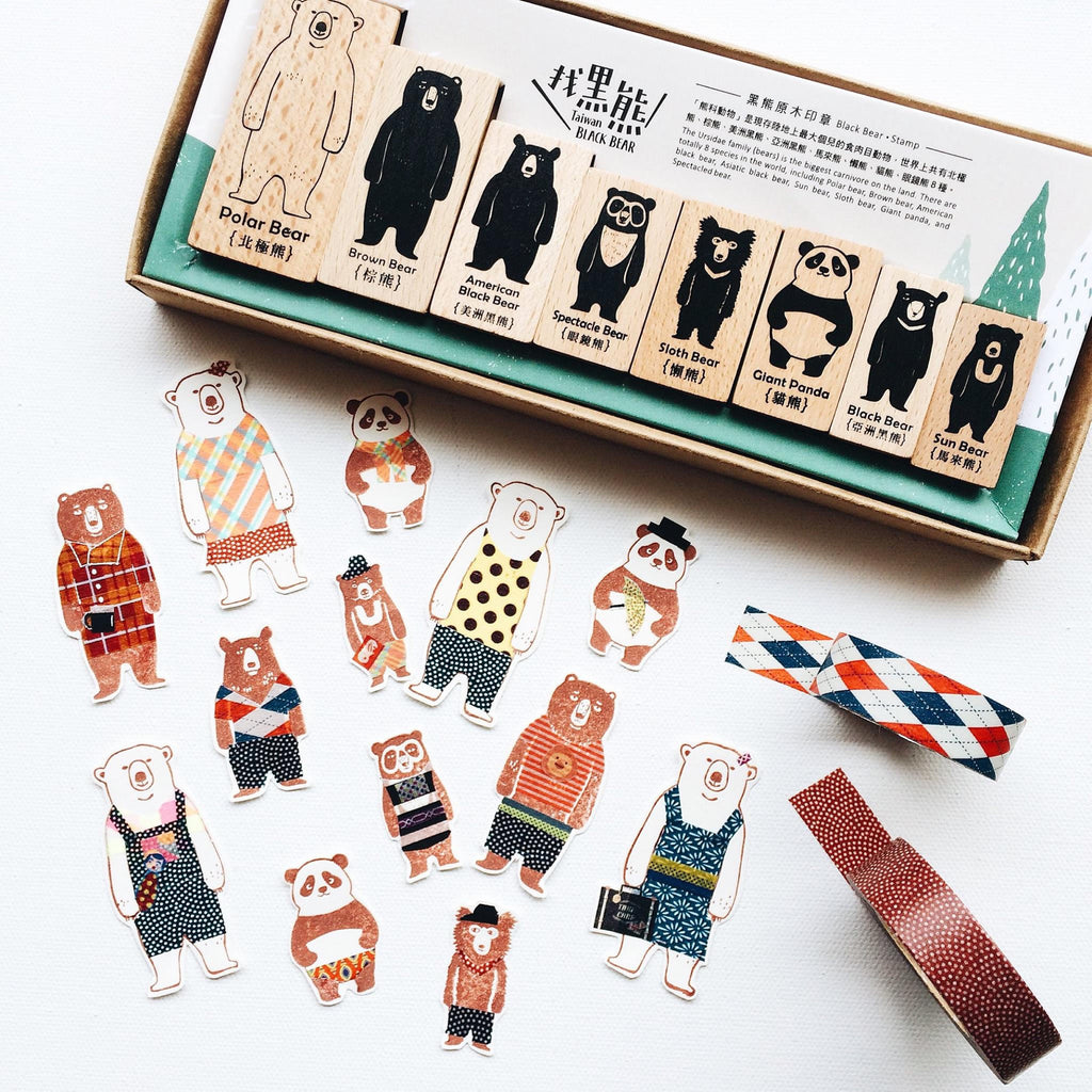 Bear Family Wooden Stamp Set