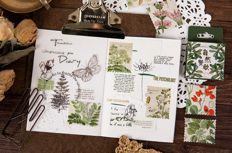 Botanical Illustration Stamps Box Sticker Set